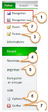 menus d'Excel