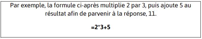 Formules de calcul sur Excel