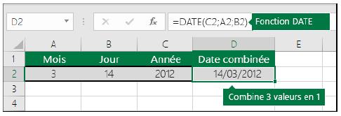 date sur Excel
